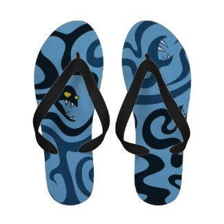Funny Evil Cartoon Snakes Flip Flops