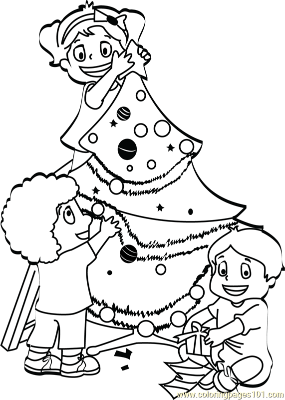 Kids Decorating Christmas Tree Coloring Page - Free ...