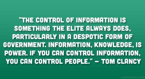 Tom Clancy Quote Information Is Power Enitiate Blog 18 May 2015