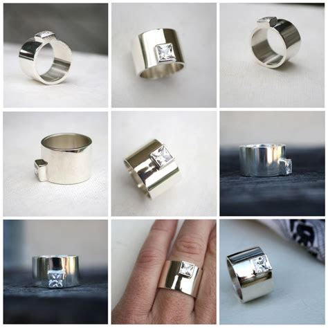 Chunky silver ring edgy statement ring square stone ring