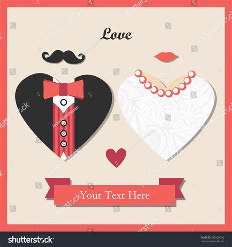 Vintage Hipster Wedding Invitation Card Template Stock