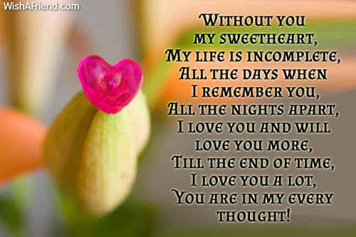 Without You My Sweetheart My Romantic Message