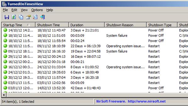 يرغب المستخدم أحياناً معرفة الأوقات التي تم تشغيل الحاسب وإيقاف تشغيله فيها