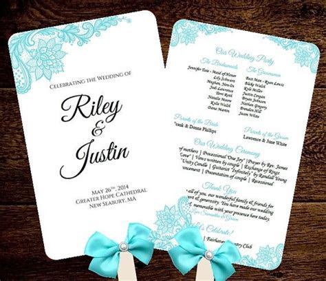 Wedding FAN Program Template Printable Tiffany Blue Fan