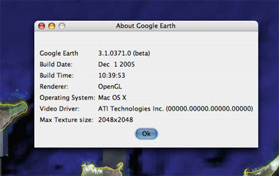 Google Earth for Mac OS X About Dialog