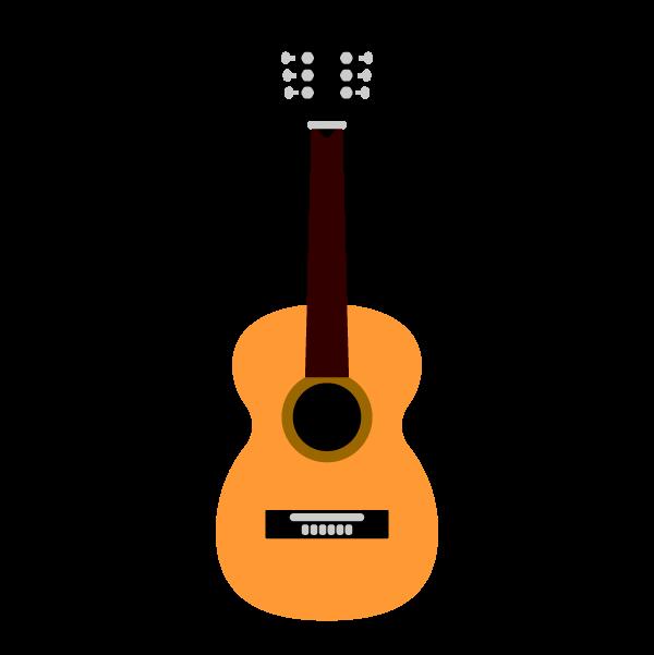 縁無しでかわいいアコースティックギターの無料イラスト商用フリー