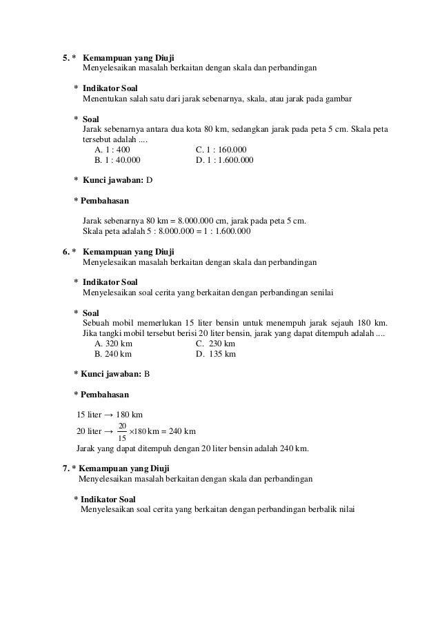 Contoh Latihan Soal Soal Matematika Skala Dan Perbandingan