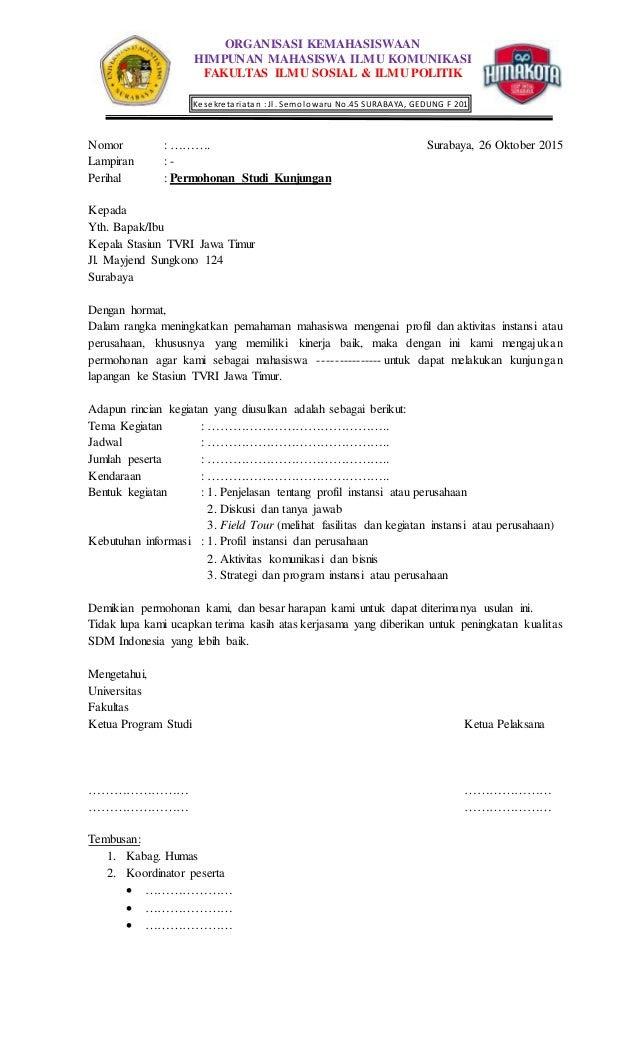 Surat Pengajuan Kunjungan ke TVRI Jawa Timur