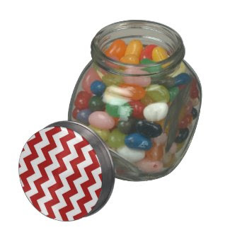 Red and White Zigzag Glass Candy Jars