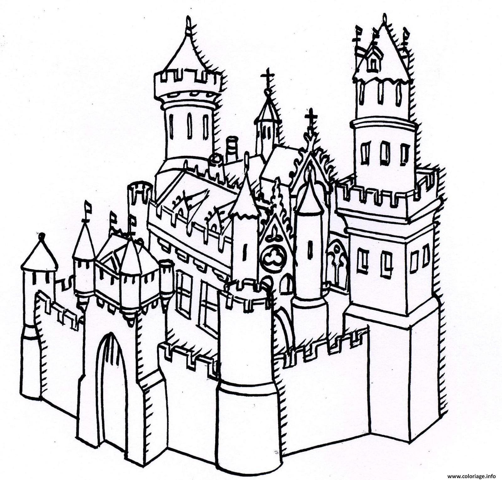 Coloriage Chateau Forteresse Dessin  Imprimer
