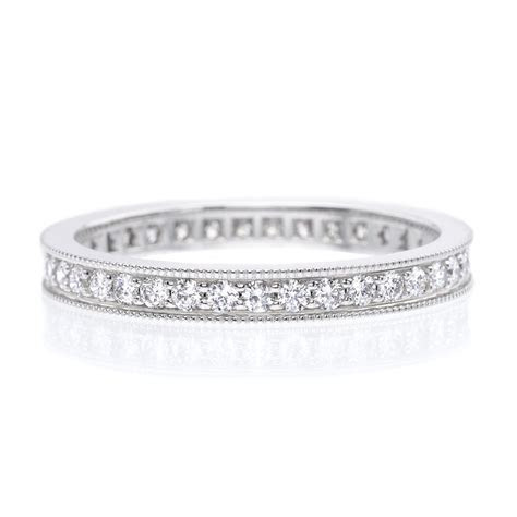 18K White Gold Bead Set Diamond Eternity Band with