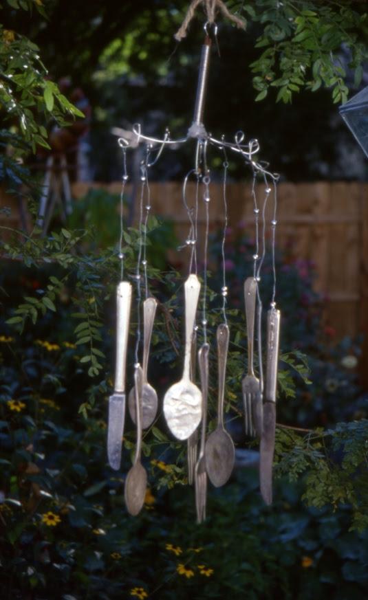 silver ware windchimes garden drama