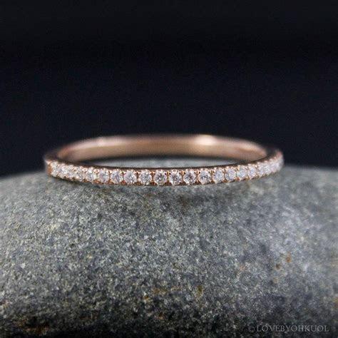 Micro Pave Diamond Wedding Band ? 14kt Rose Gold   Half
