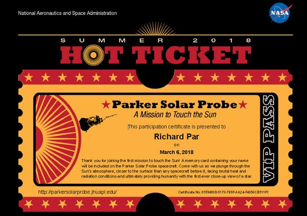 My participation certificate for the Parker Solar Probe mission.