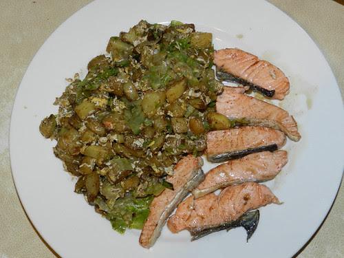 Fried spuds, scallions, iceberg lettuce, egg, veggie stock cube, salmon..