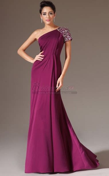 One Shoulder Mermaid Chiffon Dark Fuchsia Long Bridesmaid