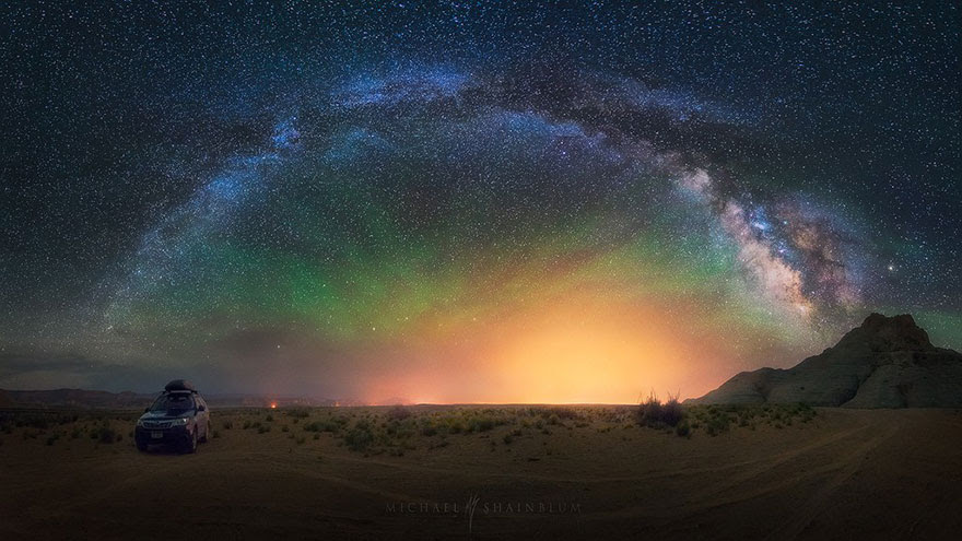 Galactic Panorama Taken In The Middle Of A Desert In Arizona