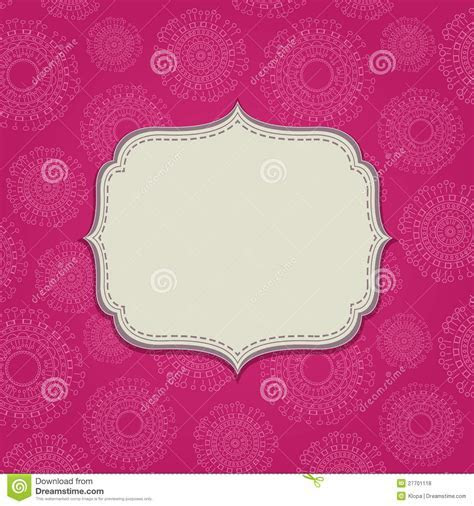 Pink Invitation Card With Blank Label Royalty Free Stock