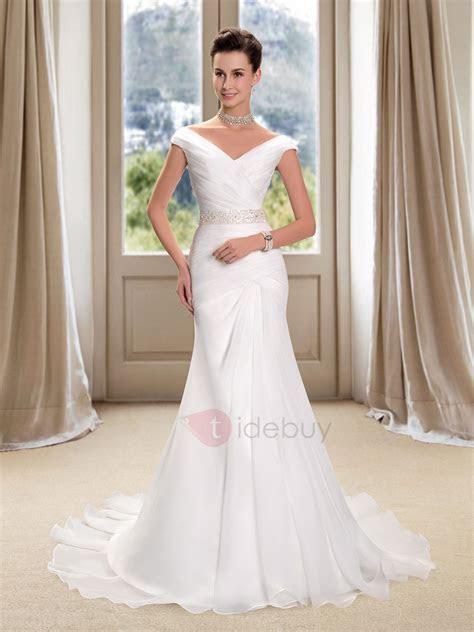 Off the Shoulder V Neck Ruched Mermaid Wedding Dress