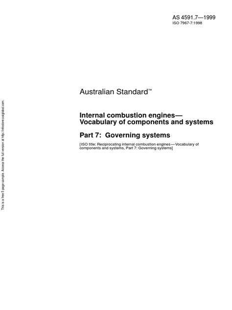 As 4591.7-1999 Internal Combustion Engines - Vocabulary of