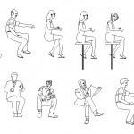 Oturan Insan şablonları Oturan Insan Tefrişleri Dwg
