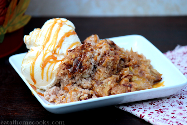 Slow Cooker Caramel Apple Crisp  made with cake mix