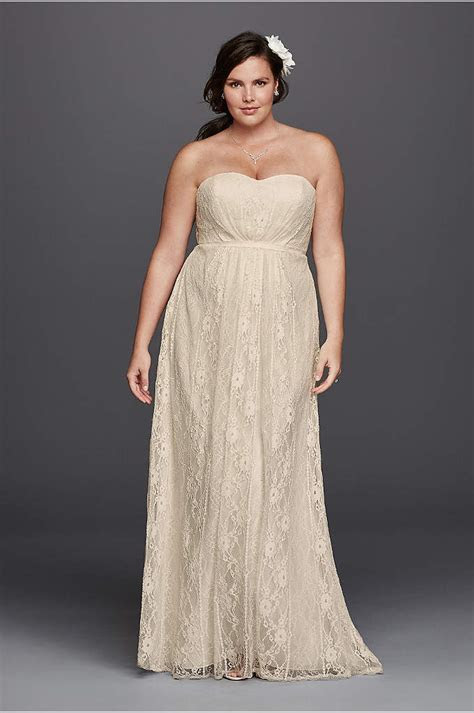 Cap Sleeve Lace Over Satin Plus Size Wedding Dress   David