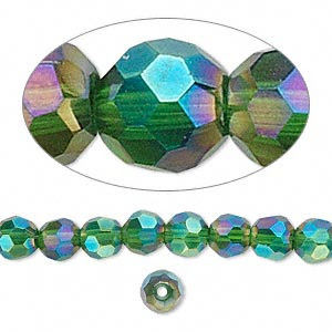 Bead, Glass, Green AB, 6mm Hand-faceted Round. Sold Per 16-inch Strand