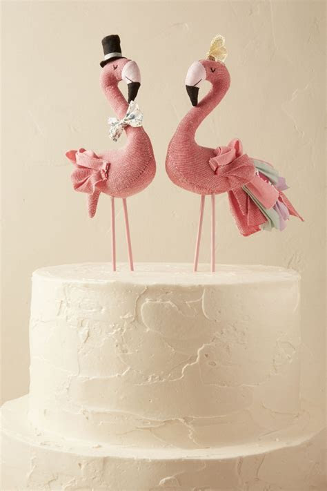 Mr. & Mrs. Flamingo Cake Topper   Aisle Society