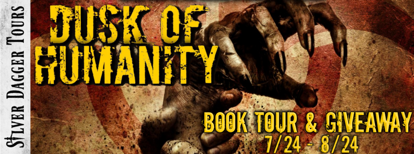Book Tour Banner for the  science fiction horror thriller Dusk of Humanity from The Decay of Humanity series by M.K. Dawn with a Book Tour Giveaway