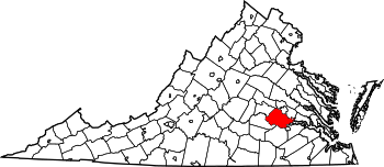 Map of Virginia highlighting Chesterfield County