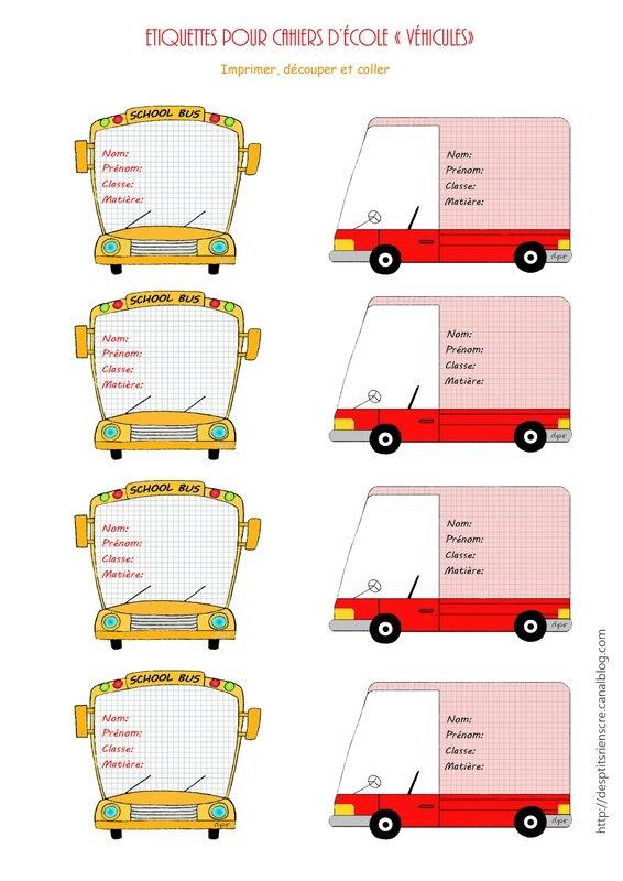 étiquettes cahiers véhicules