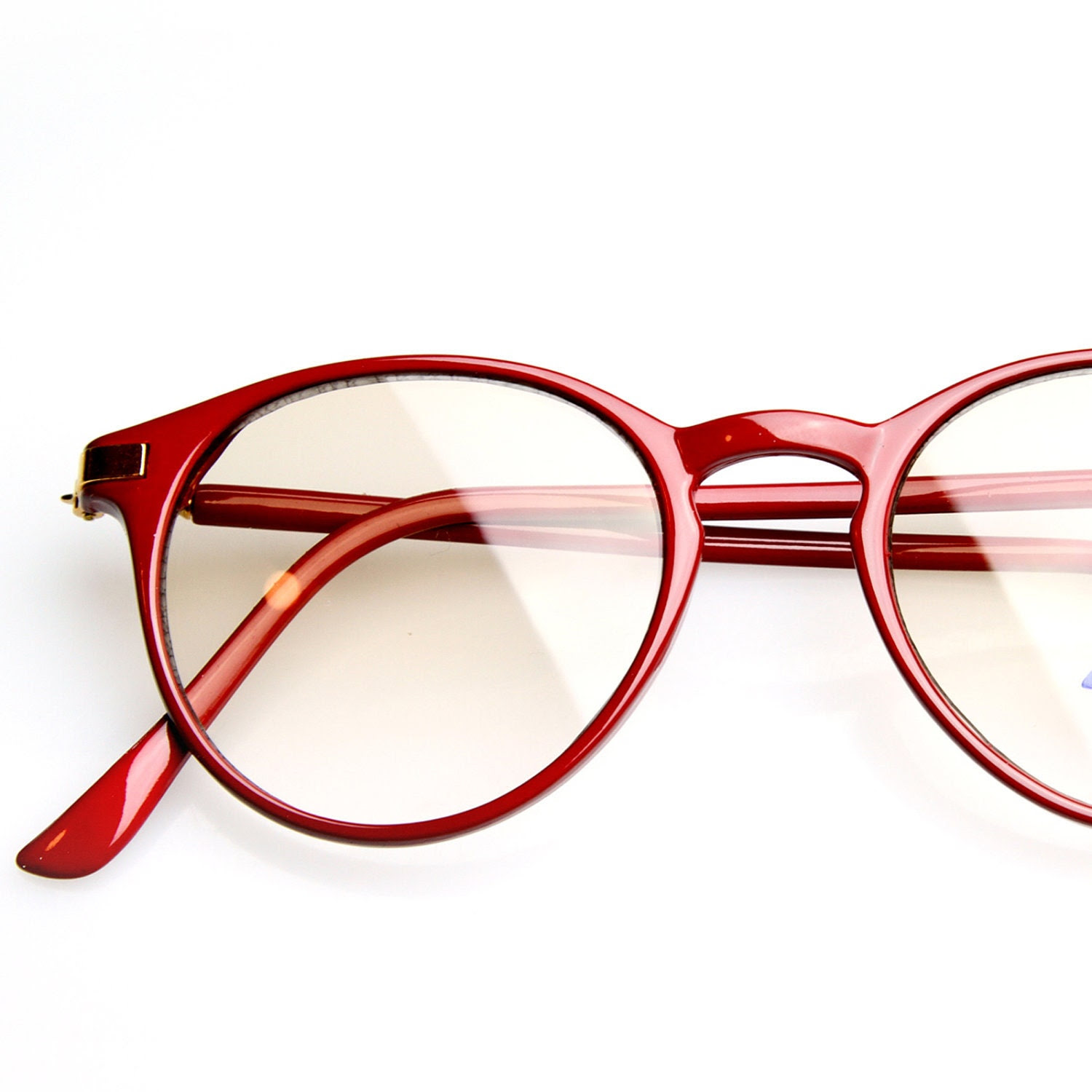 Round Red Slightly Tinted Glasses Small  P-3 Vintage 1980s Spectacles (RED)