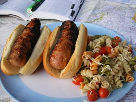 Chicken Italian Sausages with Tri Colored Pasta Salad