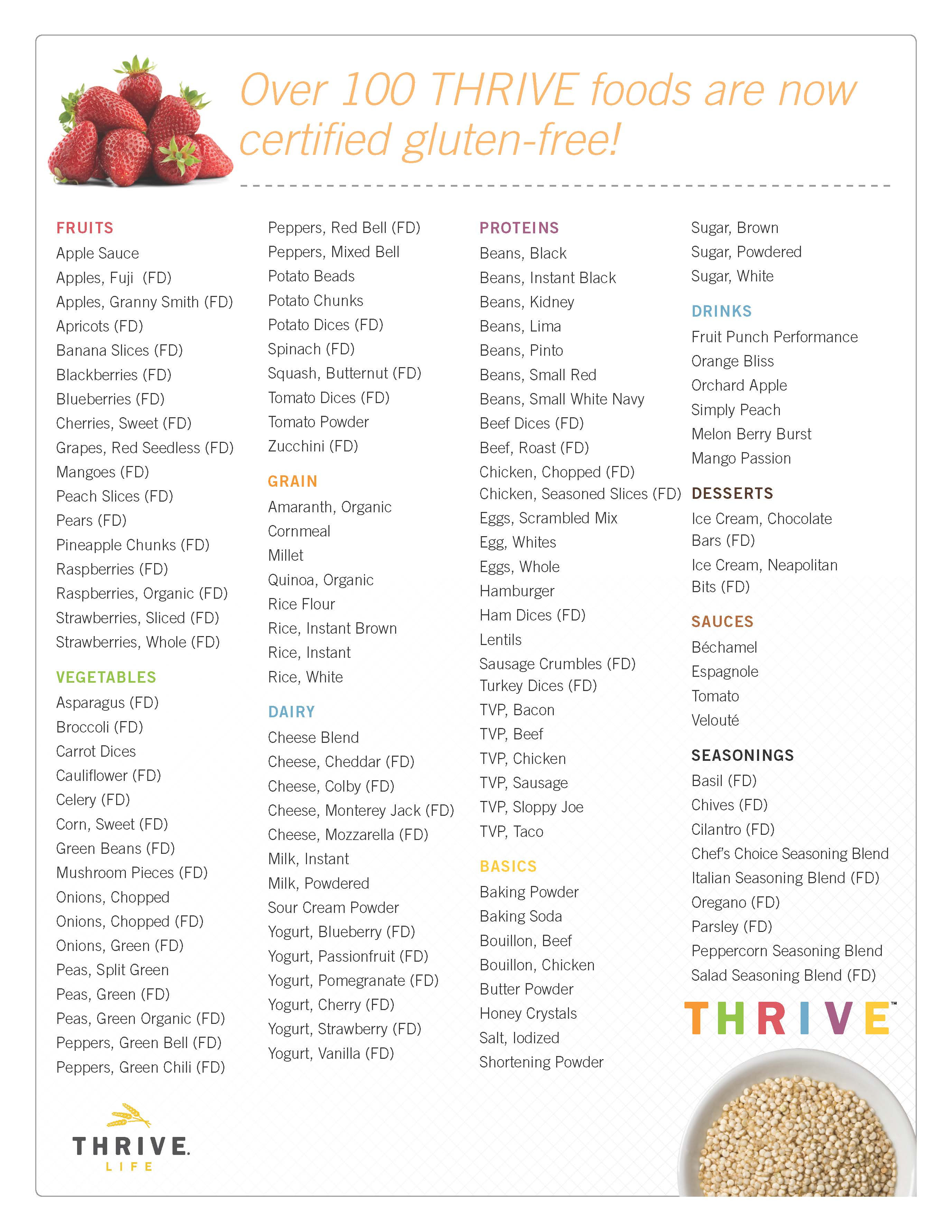 98 Certified Gluten Free Foods-Save $$ on Thrive Freeze ...