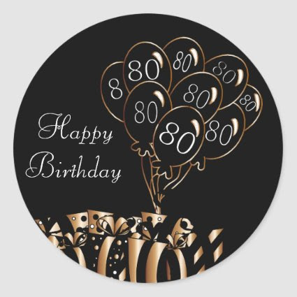 Happy 80th Birthday Classic Round Sticker
