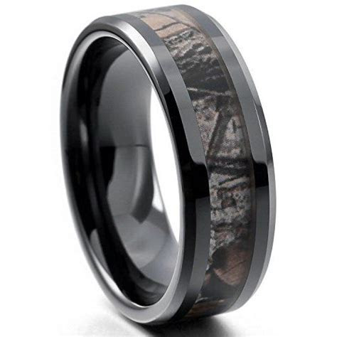 EOVE Jewelry 8MM Camouflage Hunting Mens Black Tungsten
