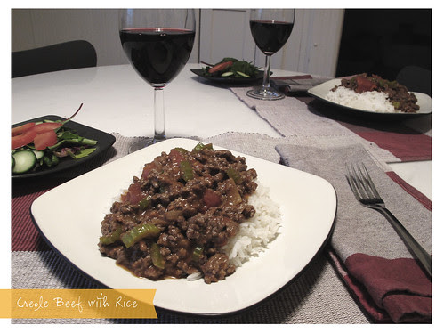 Creole Beef with Rice for Two