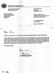 Johann Lamont to John Swinney Master Policy Minutes respose