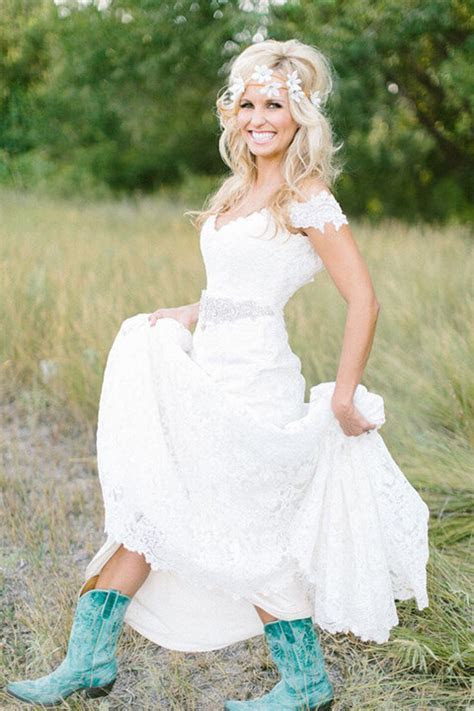45 Short Country Wedding Dress Perfect with Cowboy Boots
