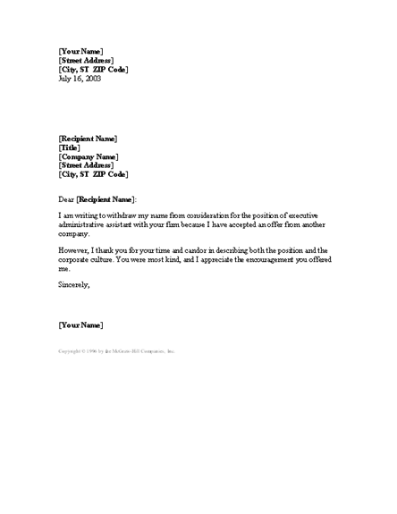 Sample letter for job application withdrawal creative writing ...