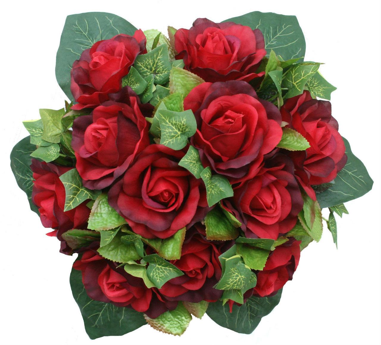 Red Silk Rose Nosegay  Silk Flower Bridal Bouquet  TheBridesBouquet.com