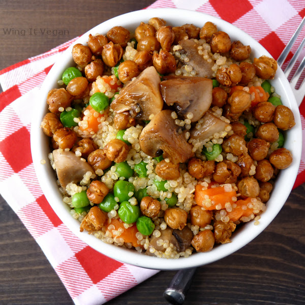 Quick and Easy Quinoa Pilaf with Mushrooms and Roasted Chickpeas