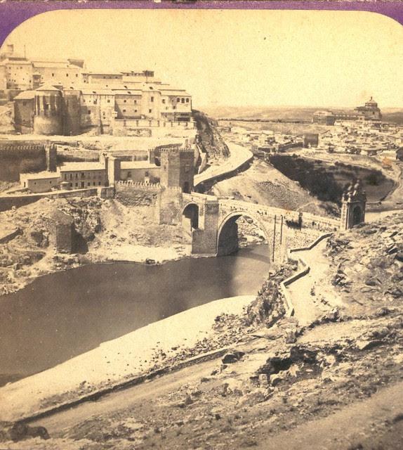 Puente de Alcántara. Fotografía estereoscópica de Jean Andrieu en 1868 con número de serie 2651