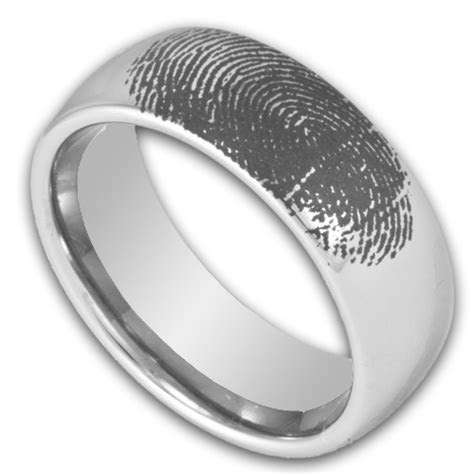 8MM Domed Tungsten Ring w/ Custom Engraved Fingerprint