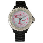 romantic red love heart and white bow watches