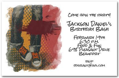 Grunge Boy Blue Jeans Birthday Invitations, Teen Invitations