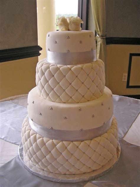 White Chocolate Fondant Quilted Wedding Cake Quilted