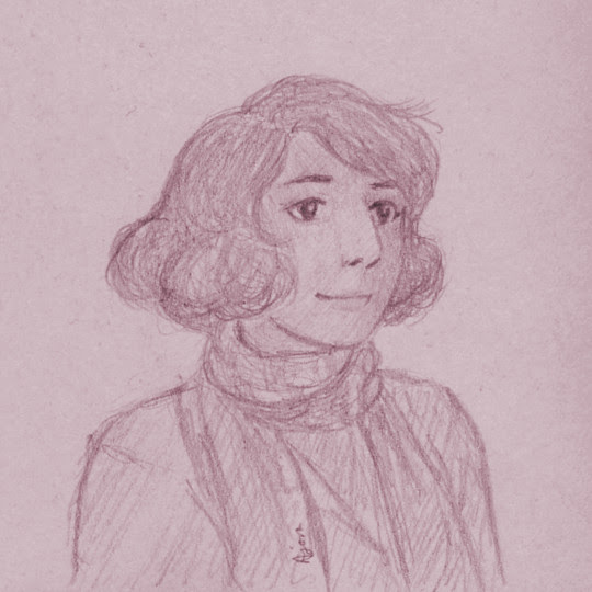 A quick 3x3″ post-it note sketch of Connie. I like her new haircut, very classy.