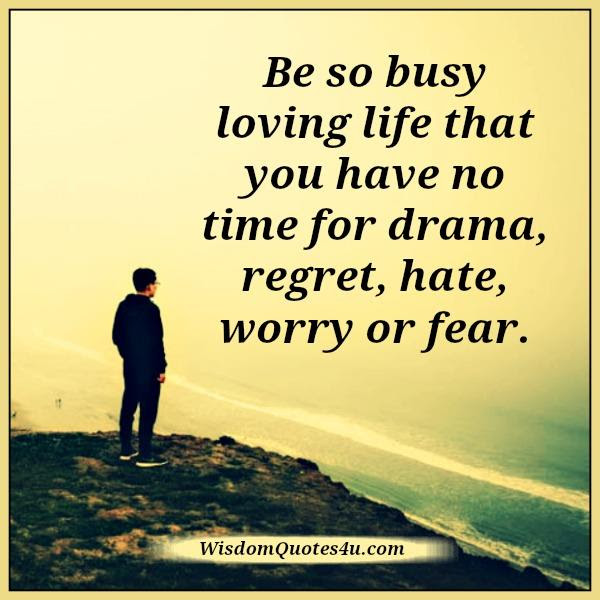 No Time For Drama Regret Hate Worry Or Fear In Life Wisdom Quotes